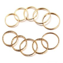17KM Vintage Gold Color Knuckle Rings Set For Women Geometric Round Twist Weave  - $16.09