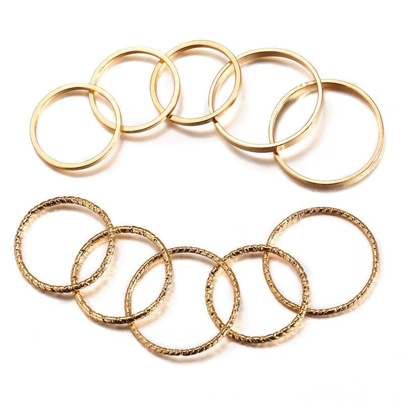Primary image for 17KM Vintage Gold Color Knuckle Rings Set For Women Geometric Round Twist Weave