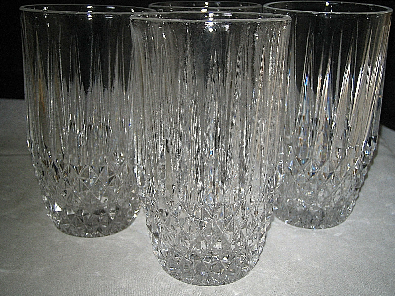 Primary image for Fostoria STRATTON Highball Glasses Diamond point glasses Set of 4 Excellent