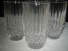 Fostoria STRATTON Highball Glasses Diamond point glasses Set of 4 Excellent - $22.99