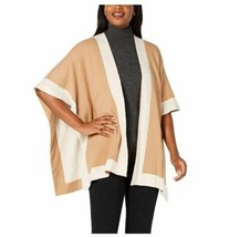 Charter Club Solid Knit Reversible Poncho Wrap, Beige Ivory Oatmeal - $27.72