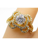 18K Gold & 925 Silver - Vintage Scalloped Cubic Zirconia Ring Sz 6.25 - ... - $28.57