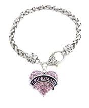 Bridesmaid Pink Crystal Heart Silver Bracelet Jewelry Wedding Maid Honor... - $14.72
