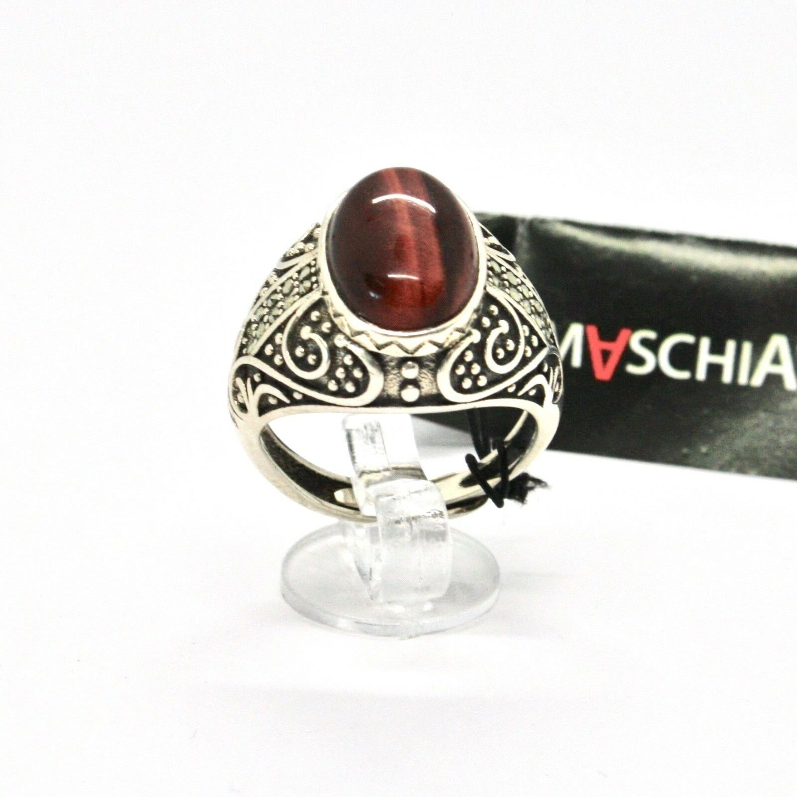 Silver Ring 925 with Tiger's Eye and Marcasite Made in Italy by Maschia