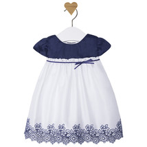 Mayoral Baby Girl 0M-12M Blue/white Embroidered Floral Border Cotton Dress