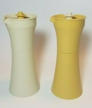 Vintage Tupperware Vinegar & Oil Cruet Set w/Lids #1246 Harvest Gold & W... - $13.81