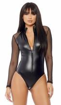 Long Sleeve Bodysuit Zip Front Matte Sheer Mesh Sleeves Black 667803 - $43.99