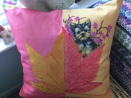 YORKIE PUPPY HAND PAINTED ON AUTUMN PILLOW - $54.45