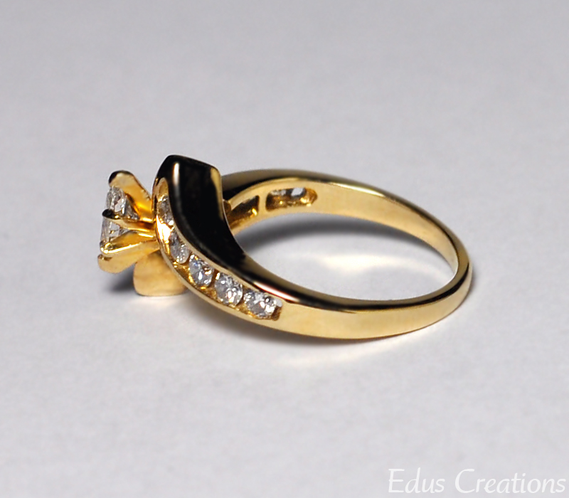 Natural Marquise Diamond Engagement Bypass Unique Ring Womens 14K Yellow Gold
