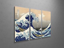 "Japanese Art Hokusai Great Wave Off Kanagawa Stretched Canvas Triptych. 48""x30"" - $122.22"
