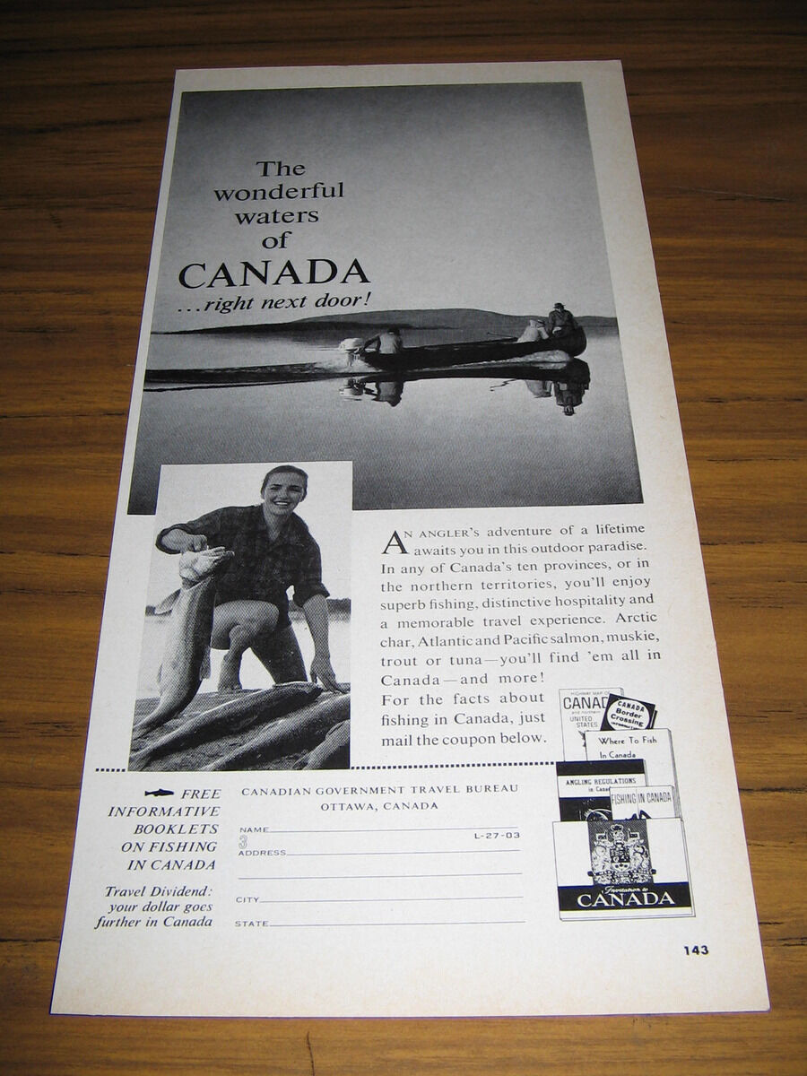 Primary image for 1963 Vintage Ad Canada Travel Bureau Fishing & Boat