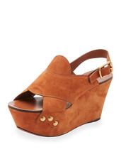 Chloe Suede Slingback Platform Sandal, Ochre Size 37 - $442.00