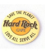 Vintage 1990's Hard Rock Cafe Pin Back Button Save The Planet Love All S... - $9.46