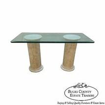 Maitland Smith Tessellated Stone Greek Doric Column Pedestal Glass Top Desk - $1,195.00