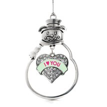 Inspired Silver I Love You Green Candy Pave Heart Snowman Holiday Ornament - $14.69