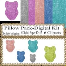 Pillow Pack3 Digital Kit-Digtial Paper-Art Clip-Glitter-Notebook-gift card. - $5.00