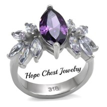 Women's Silver Stainless Steel Amethyst Marquise Cz Fashion Ring Size 6 - $22.00