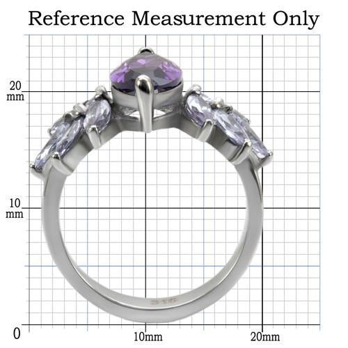 WOMEN'S SILVER STAINLESS STEEL AMETHYST MARQUISE CZ FASHION RING SIZE 6