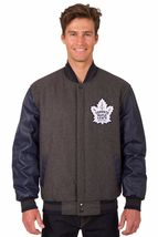 Toronto Maple Leafs Wool & Leather Reversible Jacket with 2 Front Logos Gray - $219.99