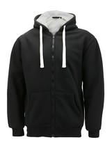 Men's Heavyweight Thermal Zip Up Hoodie Warm Sherpa Lined Sweater Jacket image 2