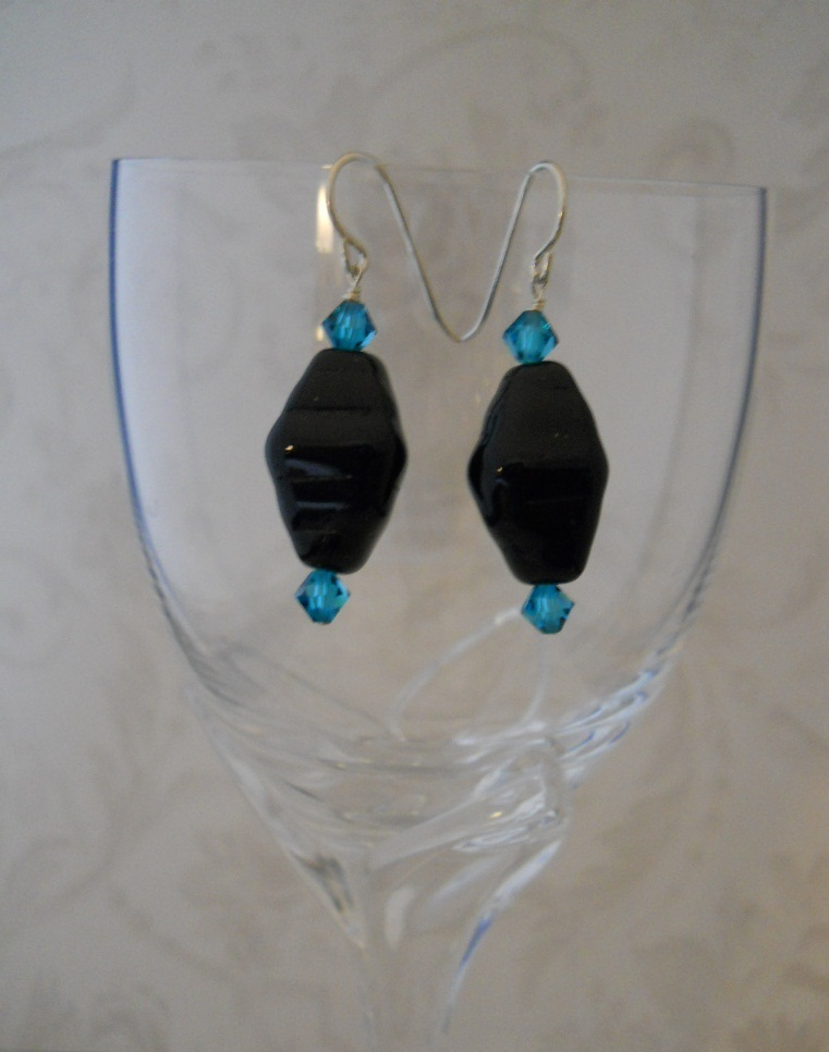 Black & Teal Earrings: Glass, Swarovski Crytals & Sterling Silver, Hand Crafted