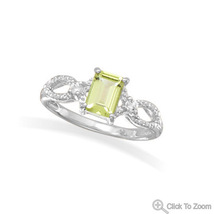 Peridot Ring with White Topaz Accents - $56.99