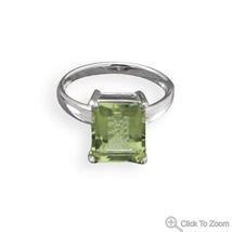 Rectangular Green Amethyst Solitaire Ring - €64,12 EUR