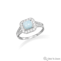 Square Larimar with Clear CZ Edge Design Ring   - £72.72 GBP