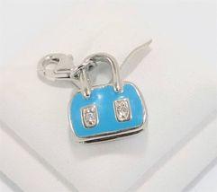Blue  Enamel & Cz Purse Handbag Charm Pendant Sterling Silver - $17.00