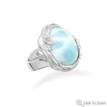 Leaf Design Sterling Silver Ring with Oval Larimar Stone - €164,06 EUR