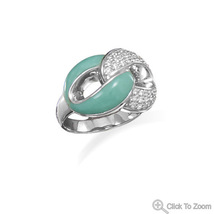 Turquoise and CZ Link Design Ring - €124,91 EUR