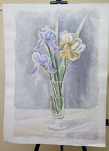 Refined Painting Floral To Watercolour Vintage Bouquet Flowers IN A Vase... - $105.61