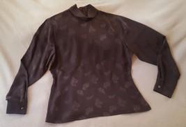 Women's Size 12 Kate Hill Brown Blouse • vintage look • dark chocolate c... - $15.83