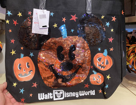 Walt Disney World Mickey Mouse Sequin Pumpkin Halloween Tote Bag NEW - $39.90