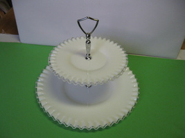 Fenton Glass Silver Crest White Ruffled Two Tiered Tidbit Dessert Cookie... - $74.99