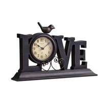 Love Mantle Clock anniversary gift romantic with metal heart accents new - $46.52