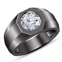 Mens Solitaire Diamond Engagement Ring Band 14k Black Gold Over 925 Solid Silver - $78.01