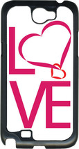 Valentine's Pink Love Text with Heart Samsung Galaxy Note II 2 Hard Case Cover - $13.95