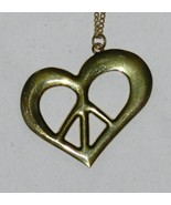 Heart or Peace Sign Gold Tone Necklace - $5.99