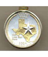 State of Texas, Gold on Silver, Quarter Pendant Necklace Gold Filled Bezel - $85.00