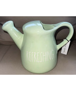 "Rae Dunn ""REFRESHING"" GREEN Ceramic Watering Can Pitcher Vase LL Gardeni... - $42.96"