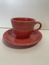 Fiesta Ware Salmon Pink Teacup And Saucer Set - $12.99