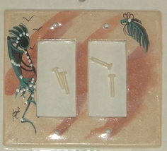 Indian Kokopelli Painting Ceramic Double Switch Plate Cover Hand Painted... - $11.00