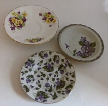 Set of Four Vintage Assorted Violet flower Themed Collectible China Dishes - $10.00