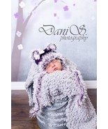 BABY GIRL PURPLE AND PINK TEDDY BEAR PHOTO PROP HAT - $14.00