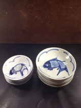LOT Of 8 VINTAGE CHINESE PORCELAIN KOI SERVING BOWL BLUE & WHITE HAND PA... - $42.85
