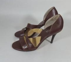 Michael Michael Kors heels open toe brown leather women's 7 - $32.73