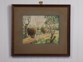 Unique Original Amateur Oxen Pulling Straw Covered Wagons Country Scene ... - $49.50