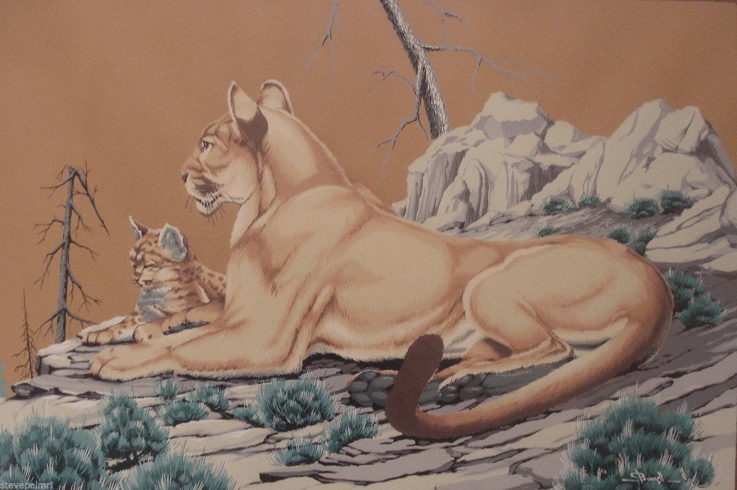 James Bunnell 50s Home Decor Lions Cub 2 Art Prints MCM 1951 Vintage 02130