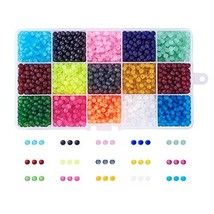 Craftdady 1 Box 15 Color 4mm Mixed Color Frosted Dyed Transparent Beads ... - $16.14